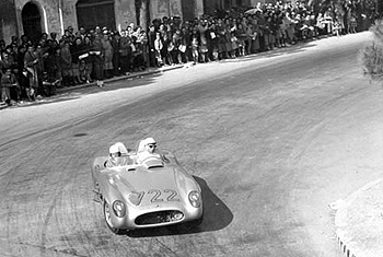 Stirling Moss during the 1955 edition of the Mille Miglia